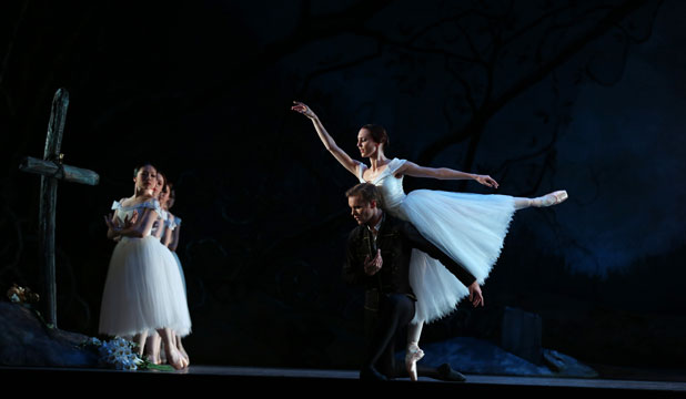 Andrew Bowman partners Antonia Hewitt in the Royal New Zealand Ballet production of Giselle. Bowman took a chance on having reconstructive surgery done on his knee to continue to dance.