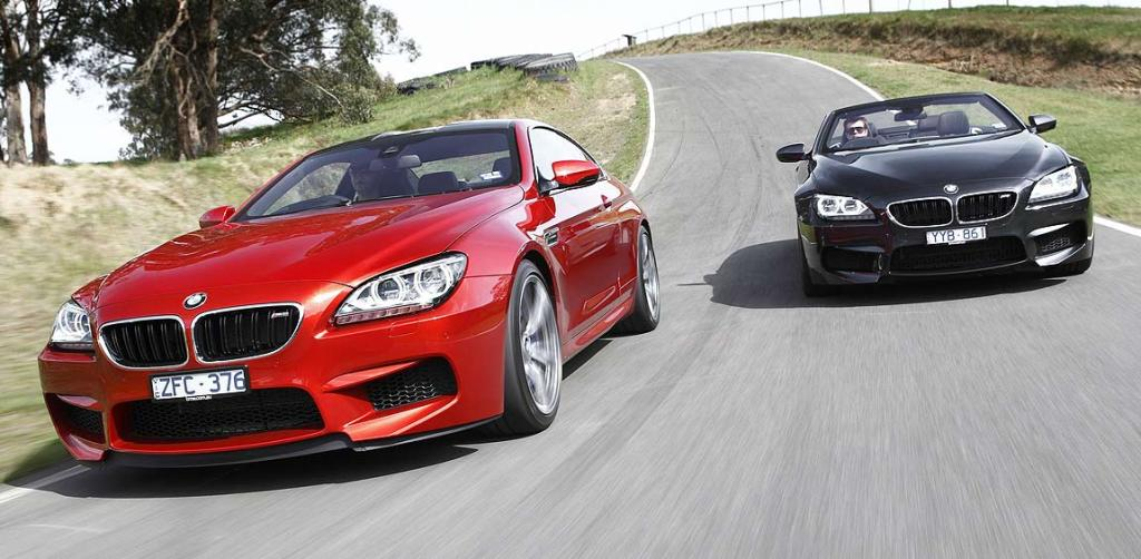 BMW M6s: The Cabriolet (right) is 130kg heavier than the Coupe (left). but you don't notice much, even on the racetrack, with 412kW on tap.