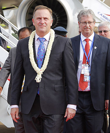 TALK TIME: Prime Minister John Key lands in the Cambodia capital, Phnom Penh.