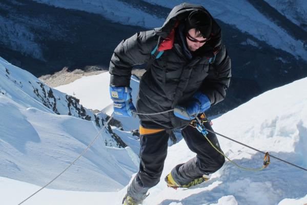 LOOK OUT BELOW: Douglas Renwick abseiling from the summit of Mera Peak, Nepal.