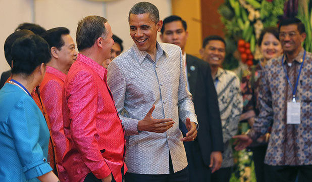 IN THE PINK: Cambodian officials may be blessed with a mischievous sense of humour. Fresh from Prime Minister John Key's gay red shirt remark to a radio host, East Asia Summit organisers issued him a fuchsia pink shirt for the opening gala dinner on Monday night. Clashing violently with the red carpet, th