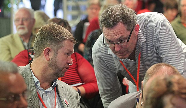 PARTY STOUSH: Labour Party MP David Cunliffe in discussions with Greg Presland (right) at the Labour Party Conference in Auckland.