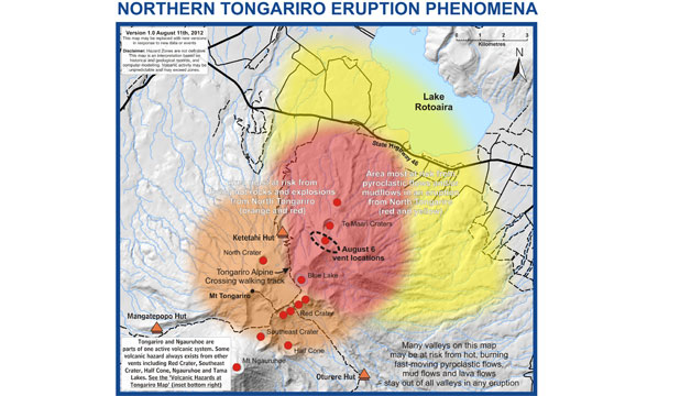 Hazard zones to avoid in an eruption