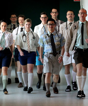 Taranaki Base Hospital doctors march the corridors on their annual 'Walkshorts Wednesday'.