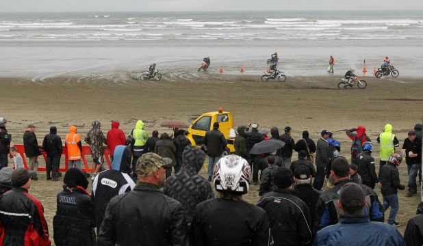 Fans enjoy the Burt Munro New Zealand beach racing championships