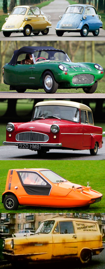Three-wheeled cars (from the top), the BMW Isetta, Berkeley Sports, Bond Minicar, Bond Bug 700ES and the Reliant Regal Supervan.