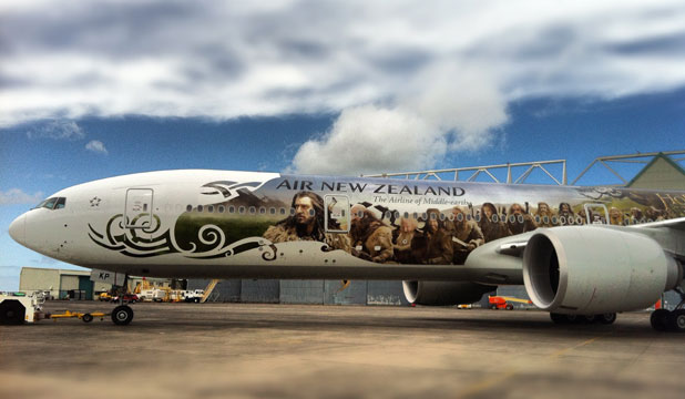 Air New Zealand unveils its new-look Hobbit plane at Auckland Airport.