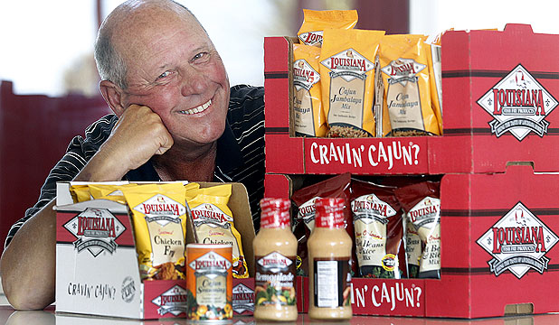 HOT ITEMS: Cajun food importer Ralph Jaeger with some of his products.