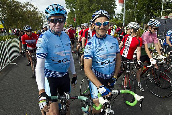 Brisbane cyclists Rod Staples, left, and Kevin Menz were part of a large international contingent who negotiated the scenic terrain around Lake Taupo.