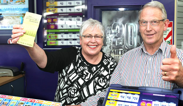 The owners of Invercargill's Windsor Stationery & Lotto shop, Betty and Noel Sinclair, are rapt to have sold the winning $20.5 million Lotto Powerball ticket.