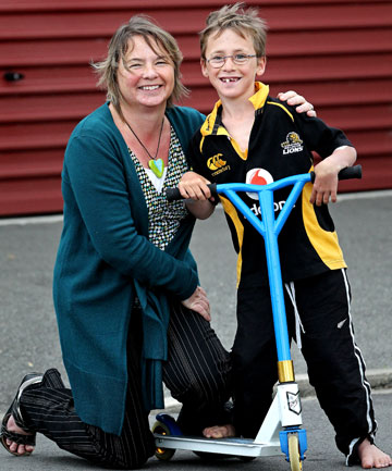 Cullen Tidy, 8,  was knocked off his scooter by his friend's mum, Jan Crafts