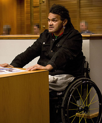 THREATENED TO KILL OFFICERS: David Andrew Taite during a previous appearance in Napier District Court.
