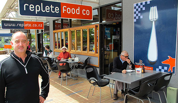 TOP STOP: Owner Chris Johnston outside Taupo's Replete Cafe.