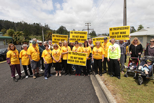 Nearly 50 residents waved opposition placards in the middle of Gladstone Road at 12.30pm.