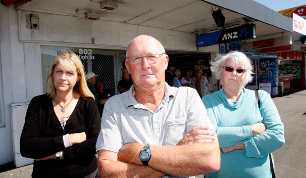 Opponents of a proposed bottle store in High St, Lower Hutt, include  Cara Foothead, left, Brian Field and Alison Lillyston.