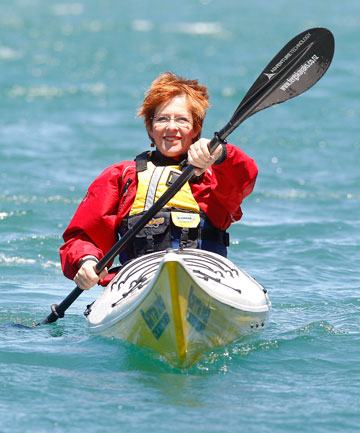 Wellington Mayor Celia Wade-Brown prepares for the Cook Strait crossing she will be attempting as part of a group of 10 next February.