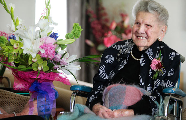 Gwen McGuire was born in 1904 and says the secret to staying happy and healthy is to ''live your life''.