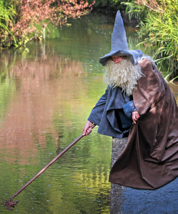 New Plymouth's Trevor Woudt in his Gandalf costume that proved a huge hit on the red carpet at the premiere last week.