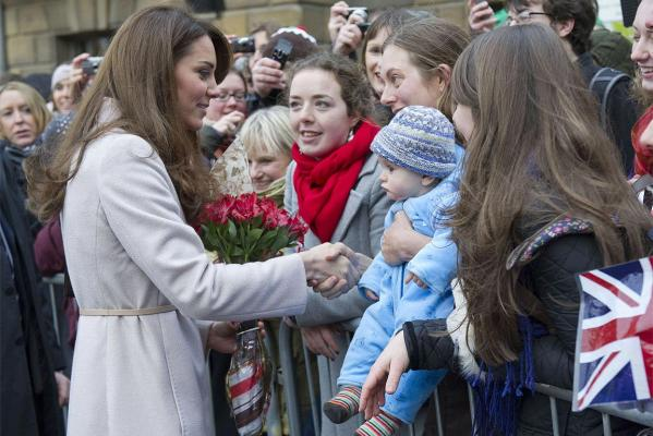 Kate Middleton seen speaking to members of the public following a visit to the Guildhall in Cambridge.