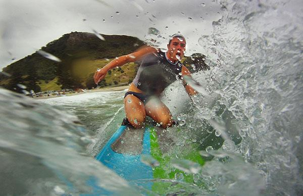 WET AND WILD:  Jack Wilson, of Auckland, powers through the water during the Lion Foundation New Zealand Surf League at Mt Maunganui.