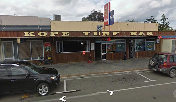 ARMED ROBBERS: Police said the ordeal began when a man went to the counter at the Kope Turf Bar and