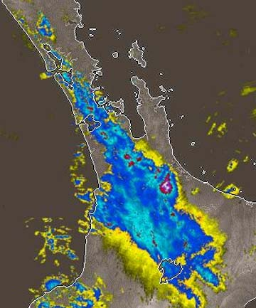 STORM: A MetService rain radar image from 2.13pm shows the band of heavy rain from Auckland through into the Waikato.