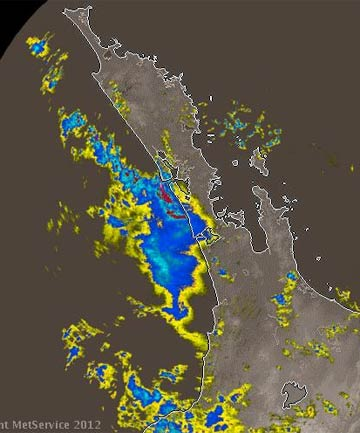 DOWNPOURS: A MetService rain radar image at 11.20am showing heavy rain approaching Auckland and north Waikato.