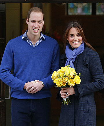 FEELING BETTER, THANK YOU: Prince William leaves the King Edward VII hospital with his wife Catherine, Duchess of Cambrid