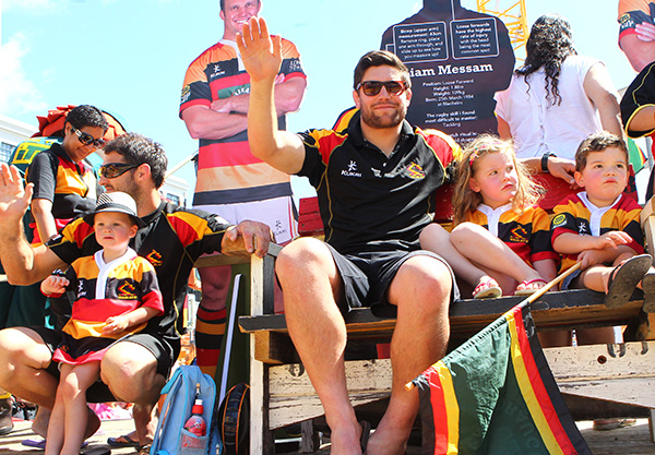 Marty Hollah and Marcel Cummings joined the parade on the Waikato Rugby float.
