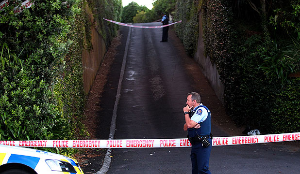INVESTIGATION: Police at the scene where a young man was found dead in New Plymouth.