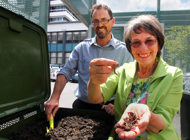 WORM FARM BLISS: Strategic policy analyst for the environment Gareth Cartwright and Councillor Daphne Bell.