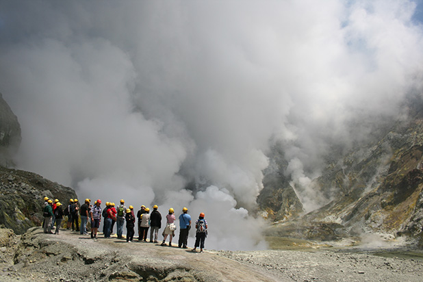 WHITE ISLAND: Visitors are issued gas masks and there are two guides for every 10 to 12 tourists.