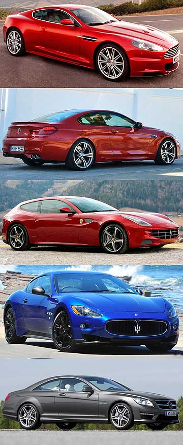 Aston Martin DBS, BMW 6-Series, Ferrari FF, Maserati Gran Turismo and Mercedes-Benz CL.