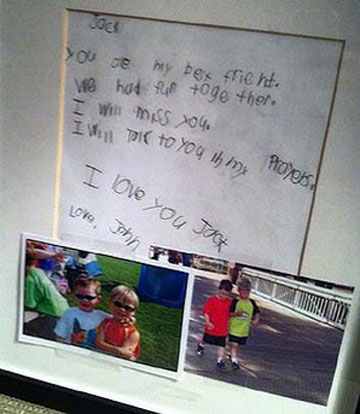 FROM A FRIEND: The note that was left for Jack Pinto.