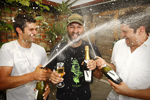 IT'S A BEAUTY: Vilagrad winery brothers Adam, left, Jacob and Kristian Nooyen celebrate the release of their sparkling charminer.