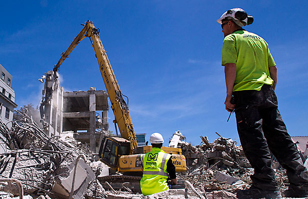 Demolition worker in ChCh heat