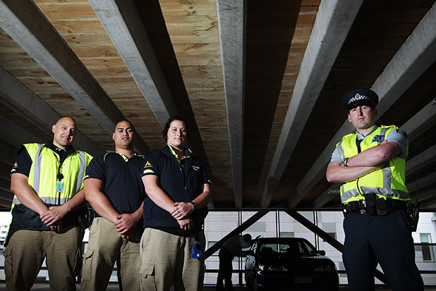 LOOK OUT: Waikato Hospital's security guards Kelly Cookson, Lingi Tukia and Hinewai Clark and Constable Heath Cameron are part of the team trying to crack down on car thefts.