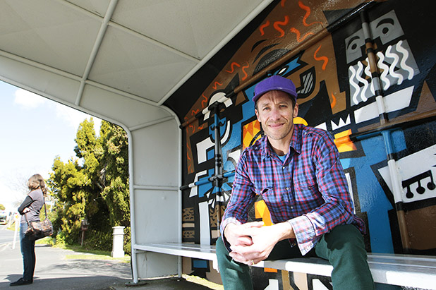DISTINCTIVE MURALS: Waikato Times Person of the Year finalist Jeremy Shirley is brightening up some of Hamilton's 'scary' structures.