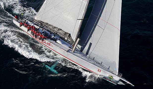 Supermaxi yacht Wild Oats XI leads the 2012 Sydney to Hobart yacht race.