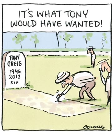 A cartoon remembering Tony Greig.