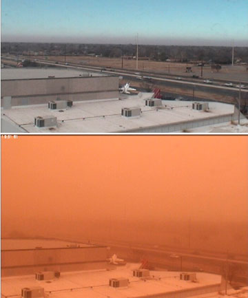 Webcam views show South Loop 289 before and during a dust storm in Lubbock, Texas, in these National Weather Service handout images.