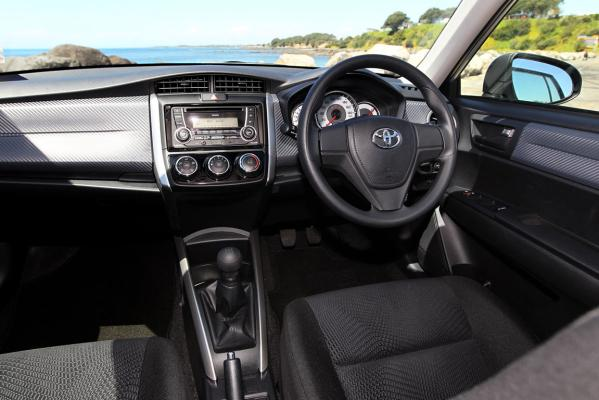 Inside the Toyota Corolla wagon.