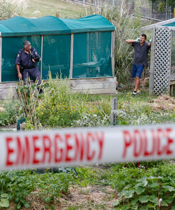 Nelson police and detectives at the community gardens near Victory School after a 62-year-old woman was beaten and raped by