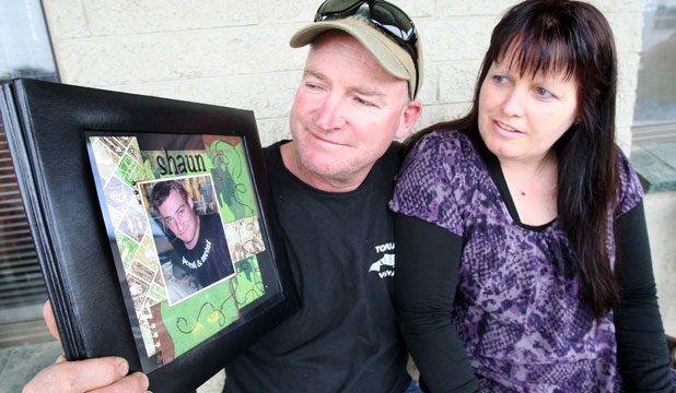 Barry Bethune and his partner Debbie McDougall remember Mr Bethune's son Shaun on the first anniversary of his death.