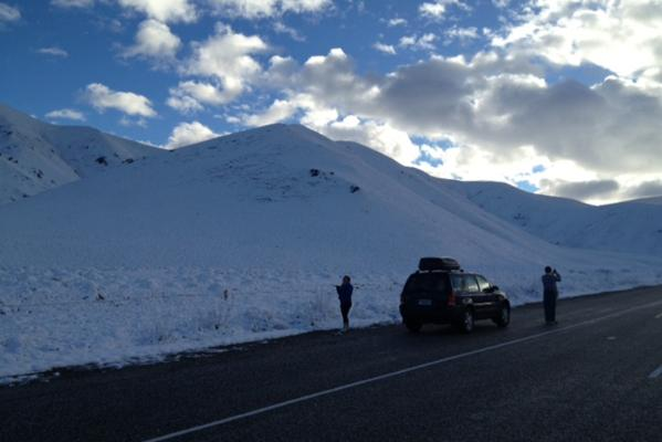 Lindis Pass snow