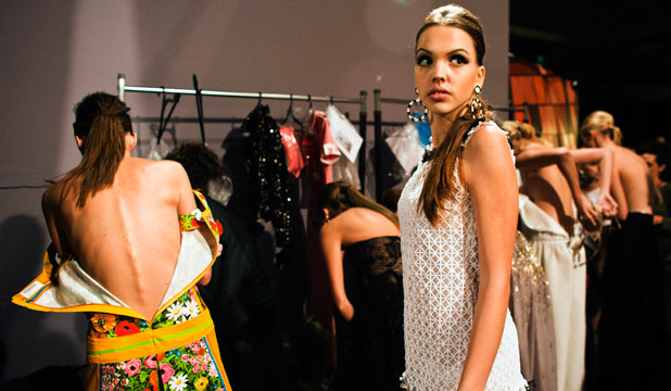 Models change at the end of a fashion show to open the 2012 Tel Aviv Fashion Week.