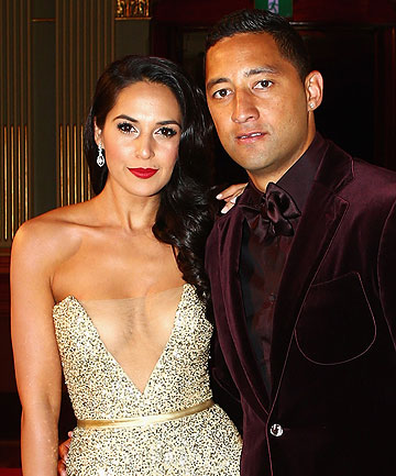 WEDDING BELLS: Benji Marshall and Zoe Balbi on the red carpet at the NRL Dal