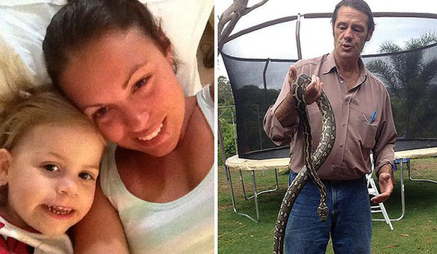 SNAKE HANDLERS: Tess Guthrie and her daughter Zara and snake expert Tex Tillis with the offending python.