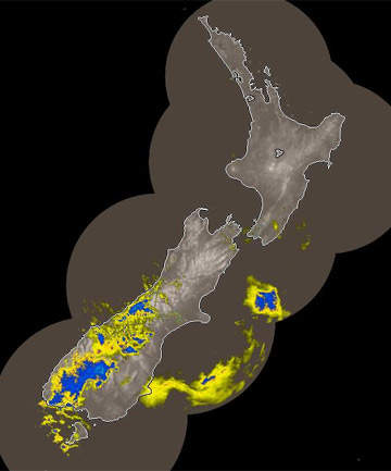 DOWNPOUR: Rain hits Fiordland, the Southern Alps and Dunedin in this MetService rain radar image from 1.05pm.