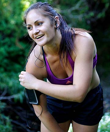 FIT AS A FIDDLE: Katie Brown, 27, likes to exercise twice a day, running at lunchtime and hitting the gym after work.